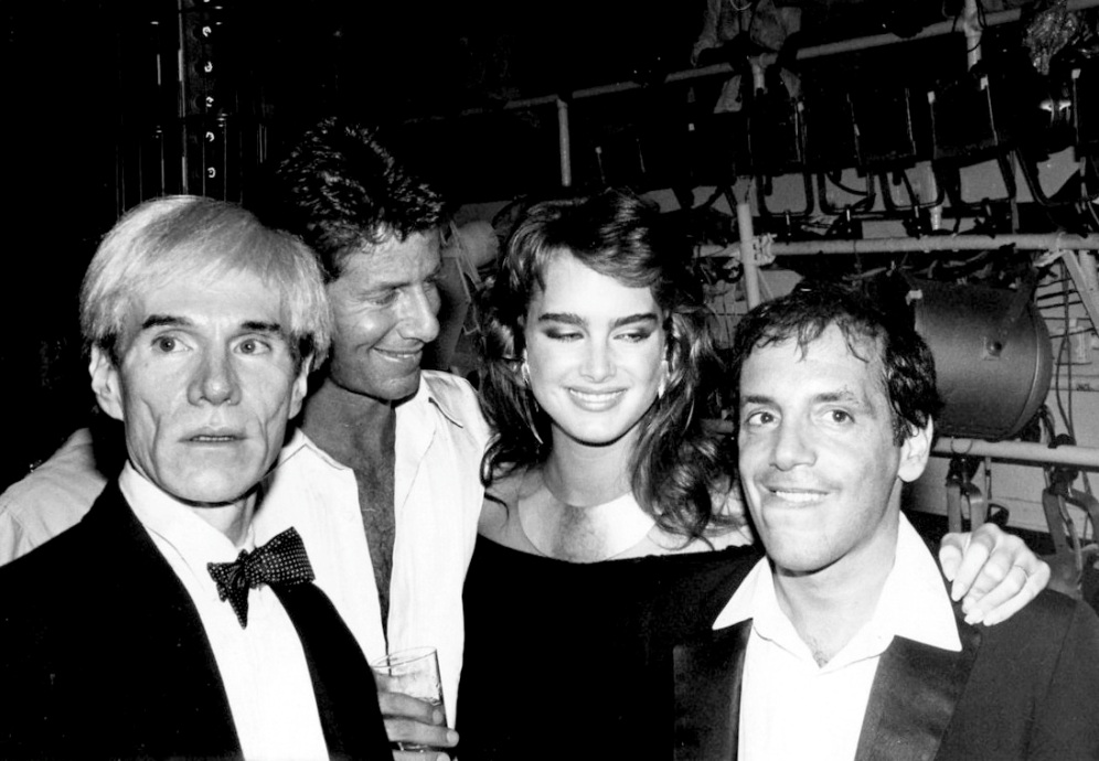 Andy Warhol, Calvin Klein, Brooke Shields and Steve Rubell by Adam Skull, 1981