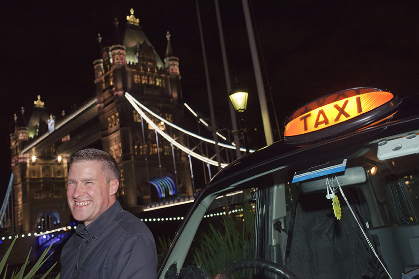 A taxi driver happy to be in London