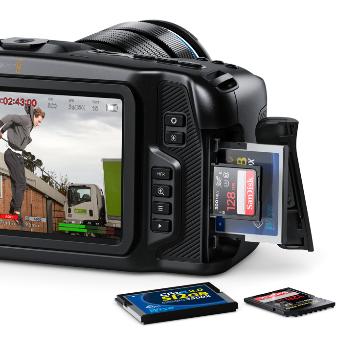 The new Blackmagic Pocket Cinema Camera 4K offers the choice of 3 kinds of media. Images can be recorded on to standard SD cards, faster UHS-II cards or CFast 2.0 cards