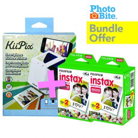 PhotoBite - KiiPix Mobile Printer & 2x Fujifilm Instax Mini Twinpacks