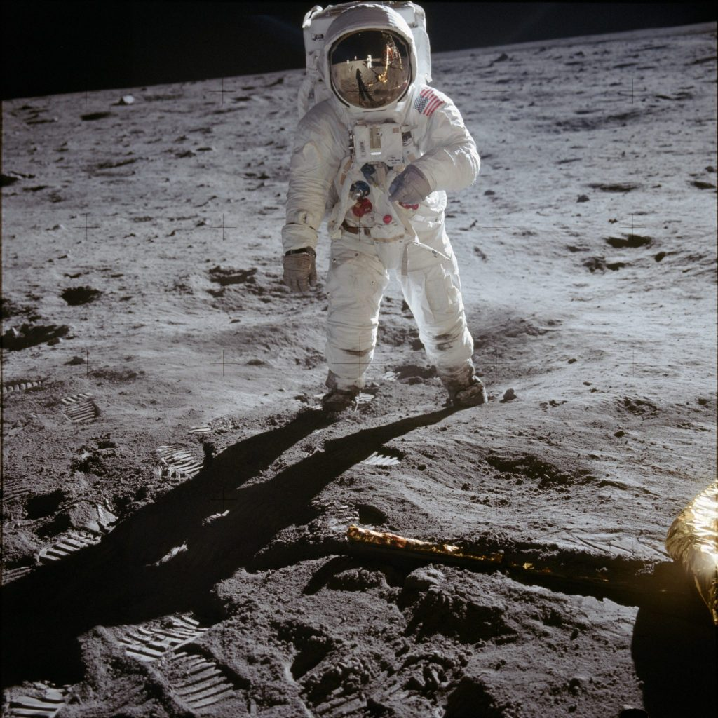 EDWIN BUZZ ALDRIN ON THE MOON'S SURFACE
