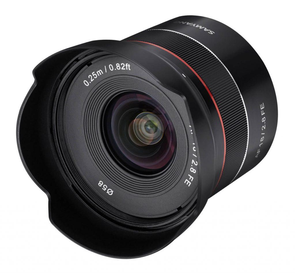 Samyang AF 18mm F2.8 FE Lens front angle
