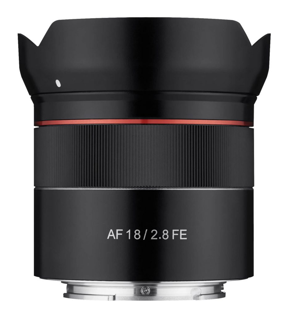Samyang AF 18mm F2.8 FE Lens side view with hood