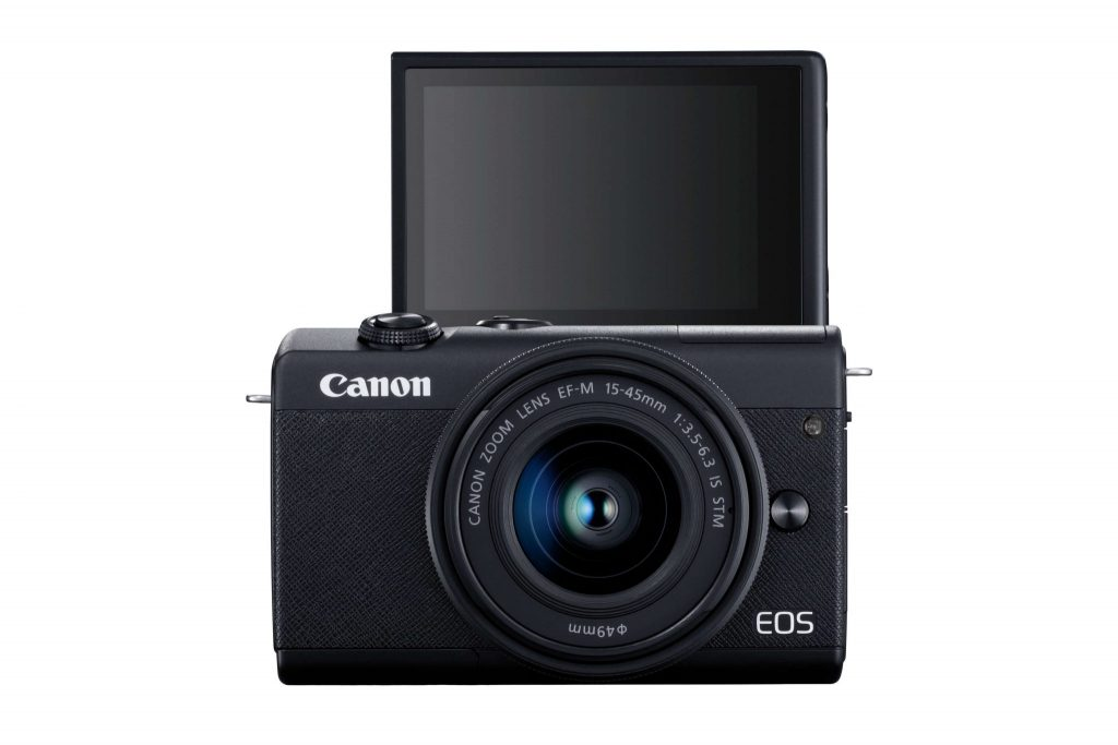 Canon EOS M200 front with screen