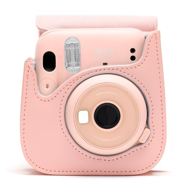 Fujifilm instax Mini 11 Case in Blush Pink with camera