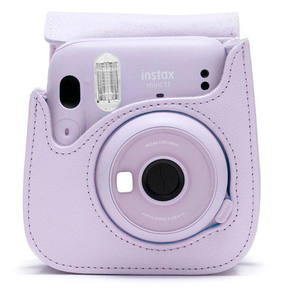 Fujifilm instax Mini 11 Case in Lilac Purple with camera