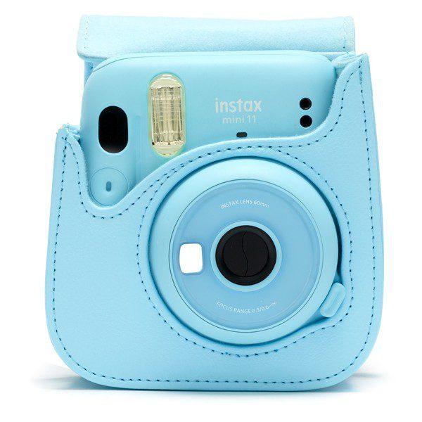 Fujifilm instax Mini 11 Case in Sky Blue with camera
