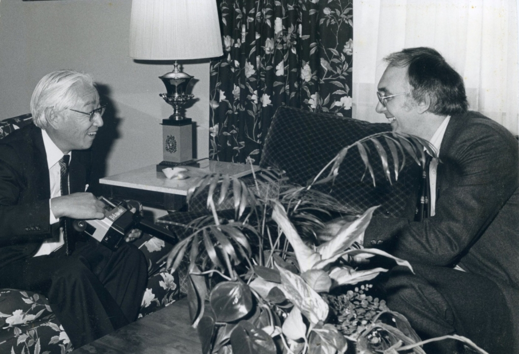 Barry Fox with the late Akio Morita, founder of Sony