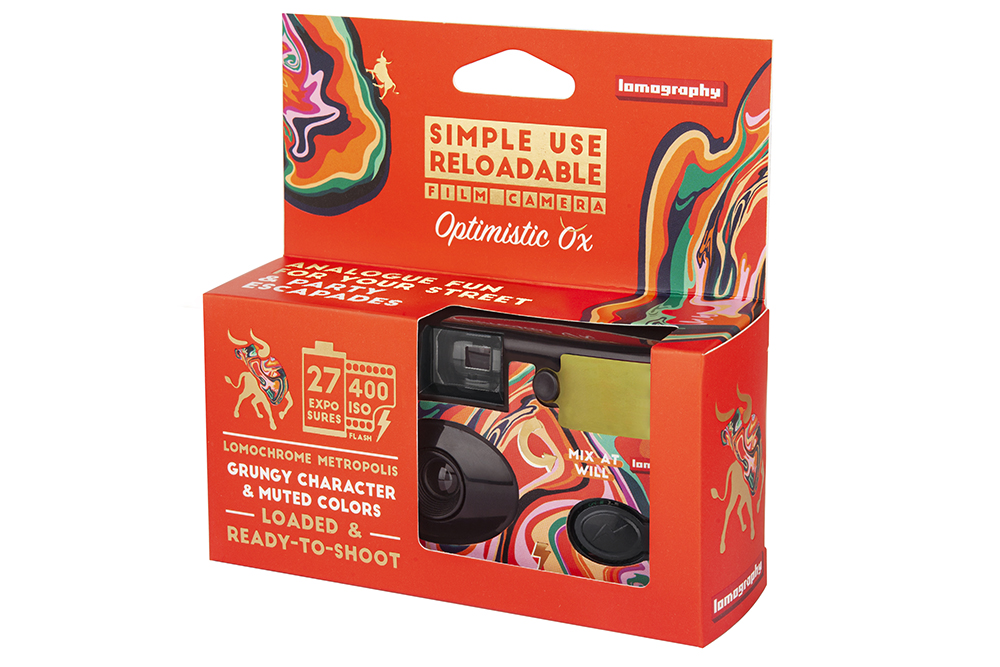 Lomography Simple Use Reloadable Camera Optimistic Ox Edition packaging shot